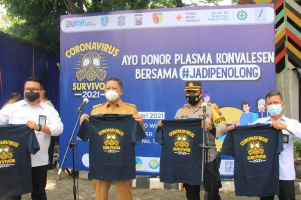 Kapolrestabes Surabaya bersama Plt Walkot Galakkan Screening Donor Plasma Konvalesen