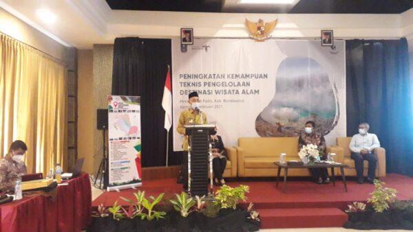 Hadiri Acara Peningkatan Kemampuan Teknis Pengelolaan Destinasi Alam, Bupati : Terimakasih Pemprov Jatim